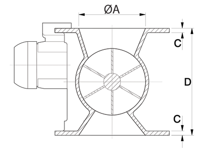 Dust Collector Valve Technical Drawing UK