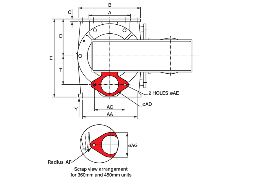 Square Rotary Airlock Technical Drawing