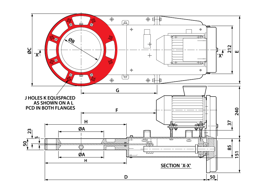 Round Motorised Cast Slimslide Technical Drawing